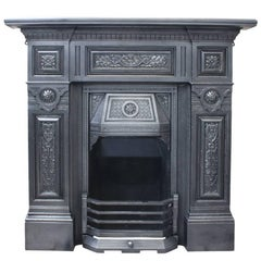 Large Reclaimed Antique Cast Iron Fireplace