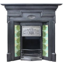 Large Antique Victorian Cast Iron and Tiled Combination Fireplace