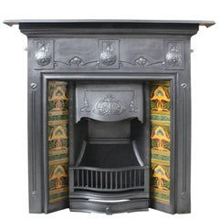 Antique Edwardian Art Nouveau Cast Iron All in One Fireplace