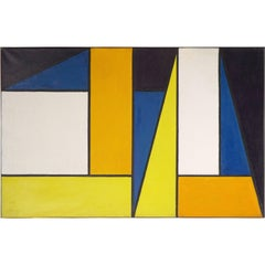 Abstract Oil Painting by Johanna Bal, in the Style of Piet Mondrian