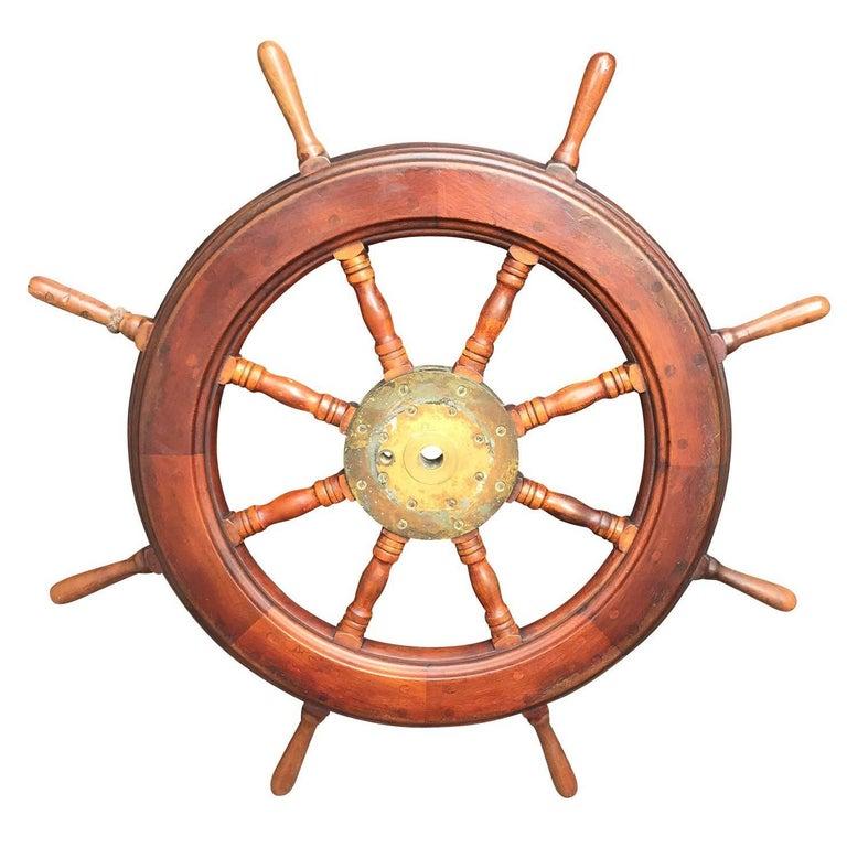 19th-20th Century Mahogany Ship Wheel For Sale