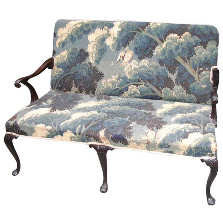 18th Century Irish Mahogany Settee in 17th Century Tapestry