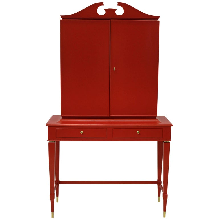 Architectural Bar Cabinet in Scarlet Lacquer by Paolo Buffa For Sale