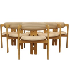 Mid-Century Modern Set of Six Tobia Scarpa for Gavina Pigreco Dining Armchairs