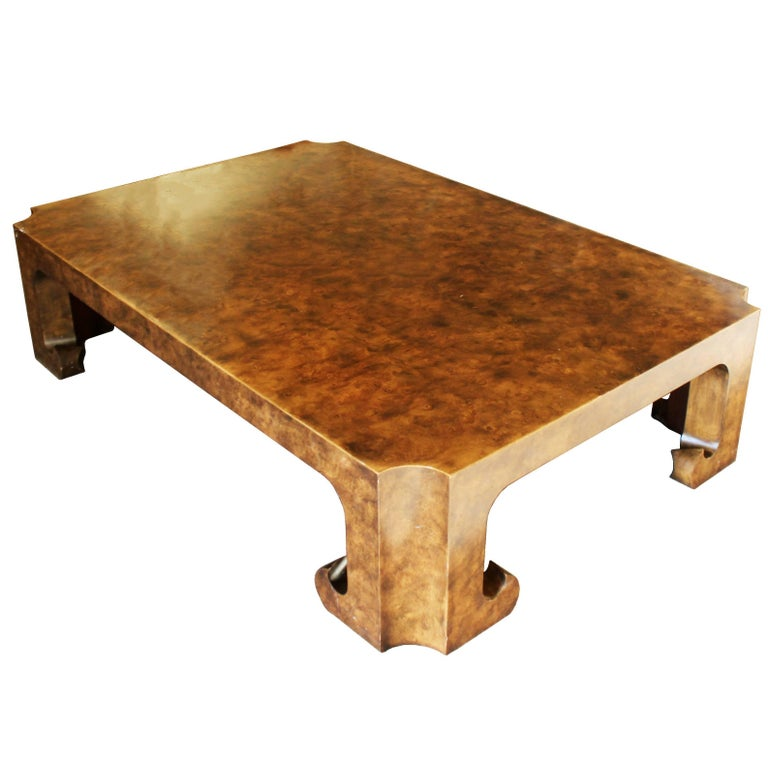 Mid Century Modern Baker Burl Wood Asian Coffee Table Collector 39 S Edition At 1stdibs
