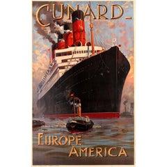 Original Antique Cunard Europe America Cruise Poster Featuring RMS Aquitania