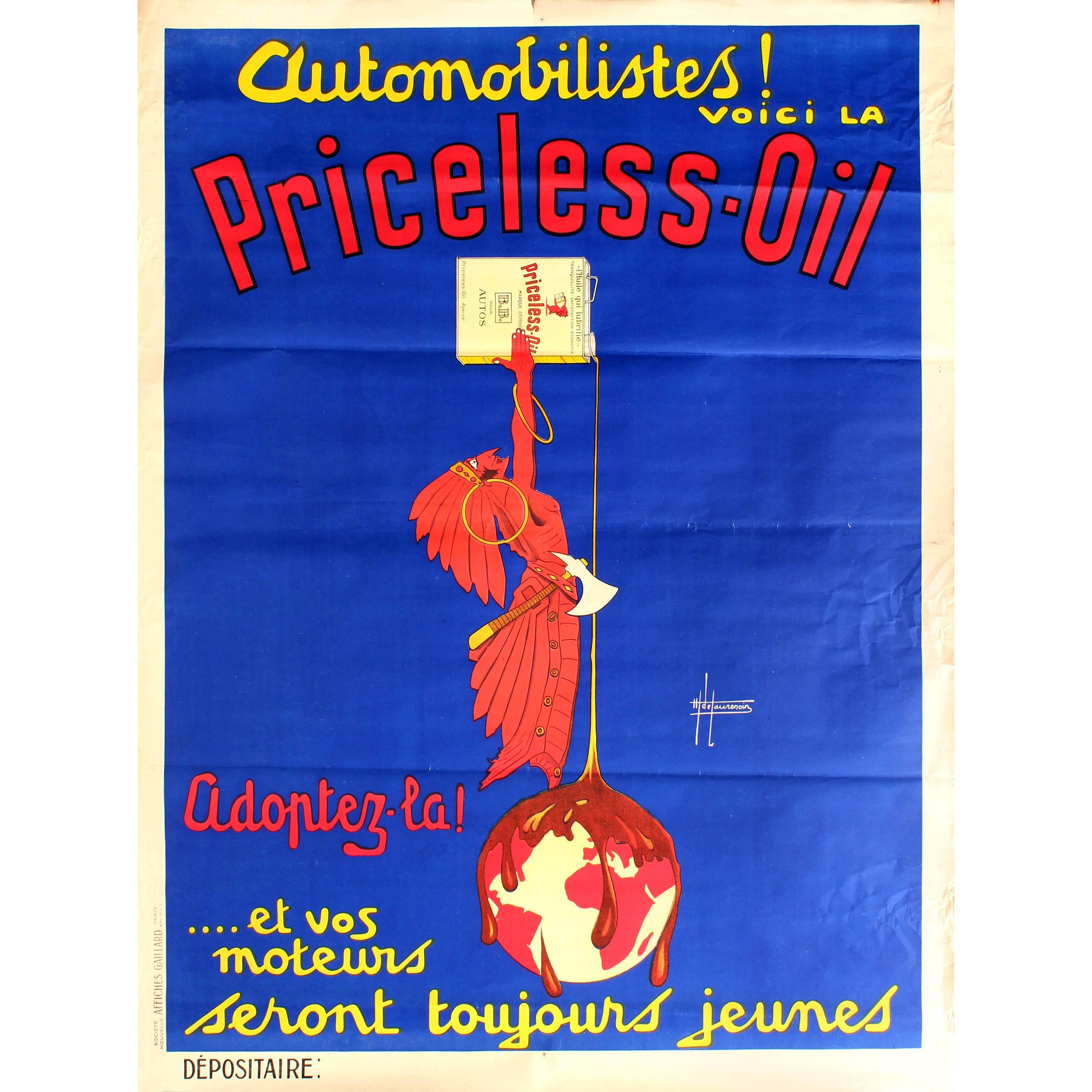 Large Original Vintage Art Deco Automobile Advertising Poster for Priceless Oil