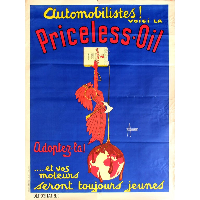 Large Original Vintage Art Deco Automobile Advertising Poster for Priceless Oil For Sale