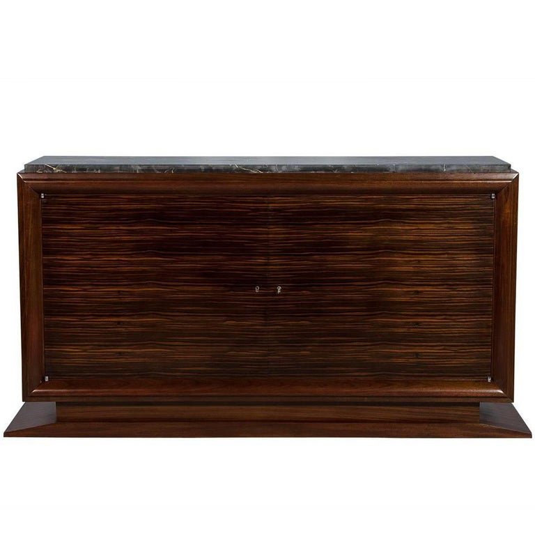 French Art Deco Makassar Ebony and Marble Sideboard