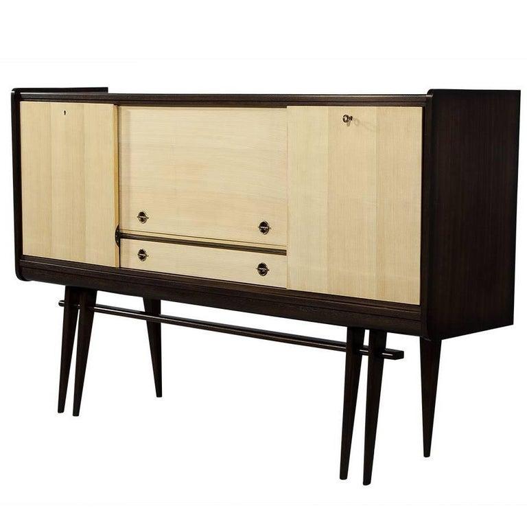 Vintage French Mahogany and Ash Bar Cabinet