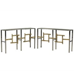 Pair of Brutalist Style Italian Chrome and Brass Consoles