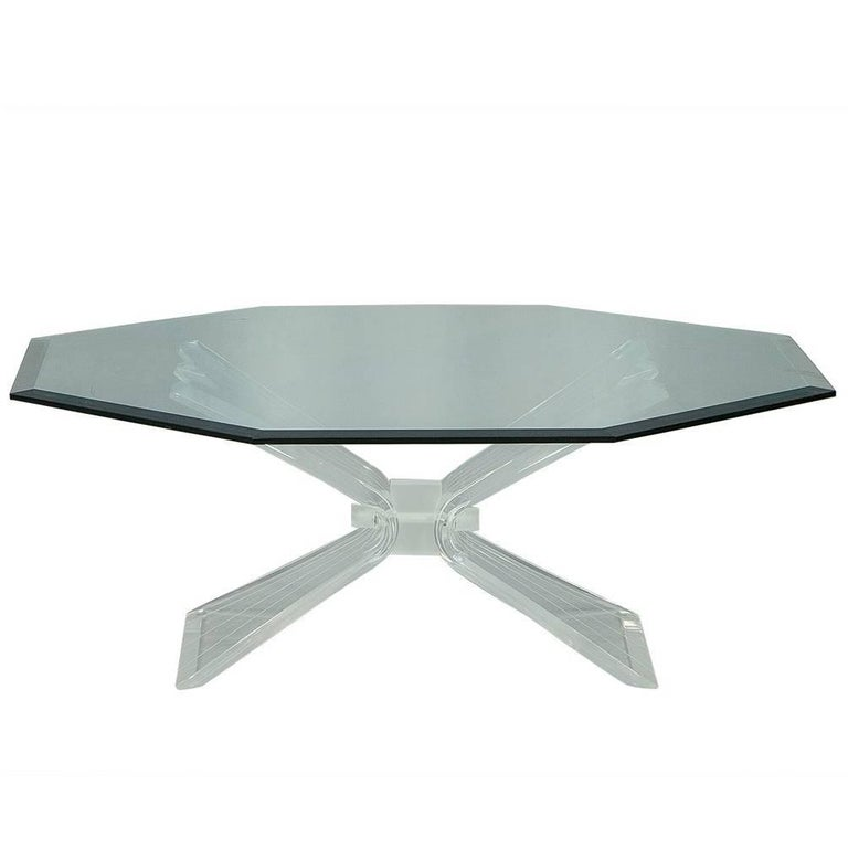 Octagonal Lucite and Glass Cocktail Table in Manner of Lion in Frost