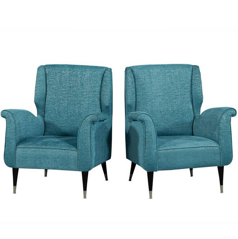 Pair of Mid-Century Style Armchairs in Teal