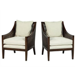 Pair of Carrocel Custom Wicker Lounge Chairs