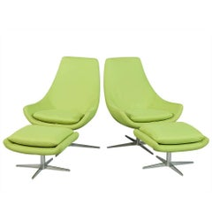 Pair of Retro Lime Green Chairs with Foot Stools