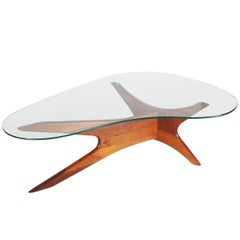 Adrian Pearsall Mid-Century Danish Modern Style Walnut and Glass Cocktail Table