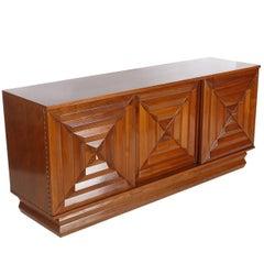 Mid-Century Modern Art Deco Walnut Credenza Cabinet or Dresser after Nakashima