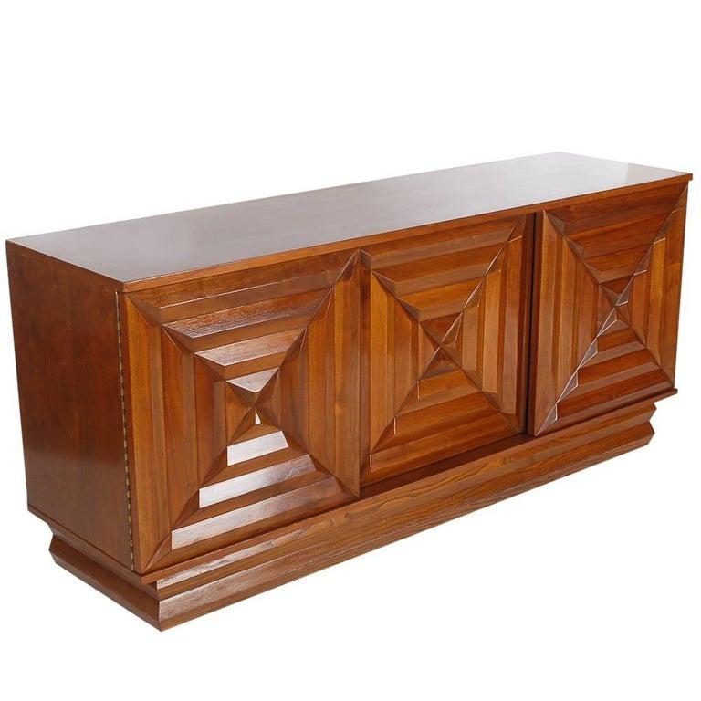 Mid-Century Modern Art Deco Walnut Credenza Cabinet or Dresser after Nakashima 1