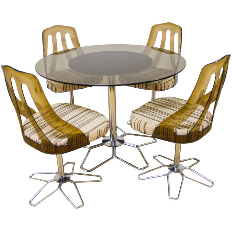 Retro Glass Chrome And Perspex Circular Dining Table Set