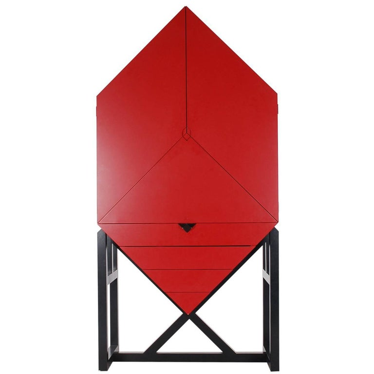 Mid-Century Post Modern Red Secretary Desk or Tall Cabinet after Ettore Sottsass 1