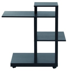 """Mak"" Solid Wood and Ebonized Shelves Castored Table by G. Chigiotti for Driade"
