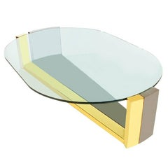 Large Mid-Century Modern Hollywood Regency Brass & Gunmetal Oval Cocktail Table