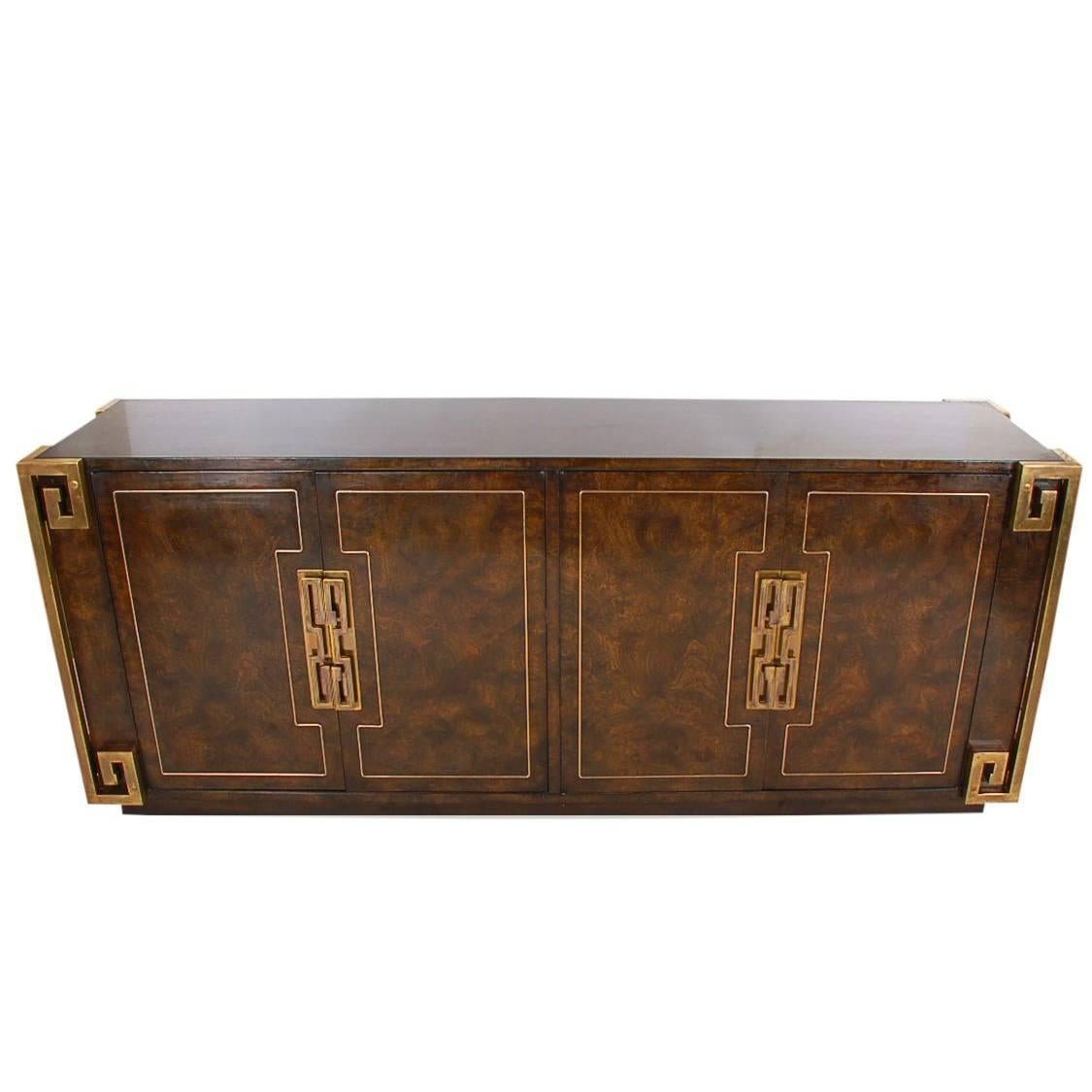Mastercraft Hollywood Regency Chinoiserie Brass & Burled Elm Credenza or Dresser