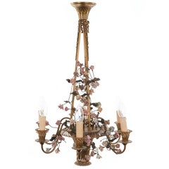 Elegant Six-Arm Basket Brass and Porcelain Rose Chandelier