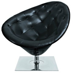 """Moor(e)"" Quilted Leather and Polished Steel Armchair by P. Starck for Driade"