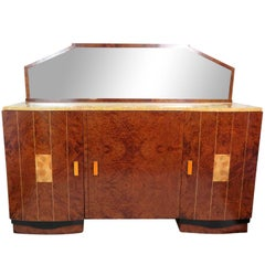 Ruhlmann Style Burl Walnut Inlaid Marble-Top Sideboard with Mirror