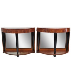 Pair of Ruhlmann Style Burl Walnut and Ebonized Console Mirrors