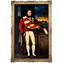 Large Regency Full Length Portrait of a Military Officer