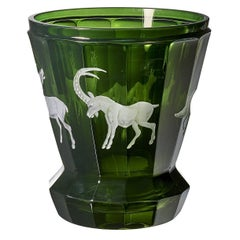 Black Forest Crystal Latern in Green Glass with Hunting Scene Sofina Boutique