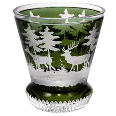Crystal Laterne in Green Glass with Hunting Scene Sofina Boutique Kitzbuehel
