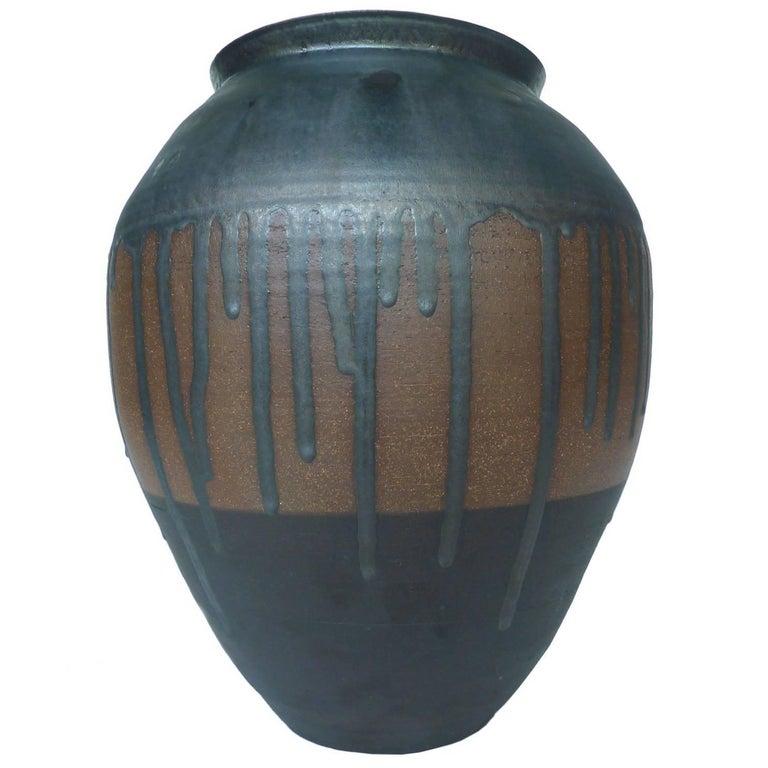 Thom Lussier Metallic Black Glazed Ceramic Urn