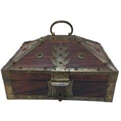 Ethnic Indian Decorative Jewelry Box with Brass, Kerala Nettur Petti