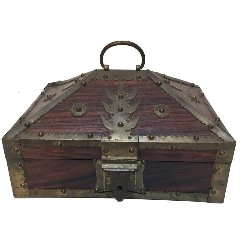 Ethnic Indian Decorative Jewelry Box with Brass, Kerala Nettur Petti For Sale