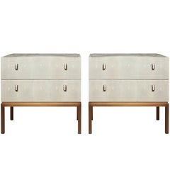 Pair of Water Nightstands with Shagreen, Selenite Crystal and Patinated Bronze