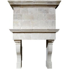 Louis XIII Limestone Fireplace, 17th Century
