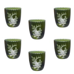 Set of Six German Black Forest Schnapps Glasses  Green with Hunting Scene
