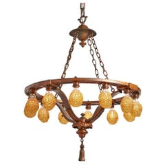 Cast Bronze Classical Revival Twelve-Light Chandelier with Beaded Bulb Covers