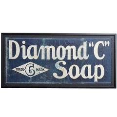 "Framed Diamond ""C"" Soap Advertising Banner, circa 1900"