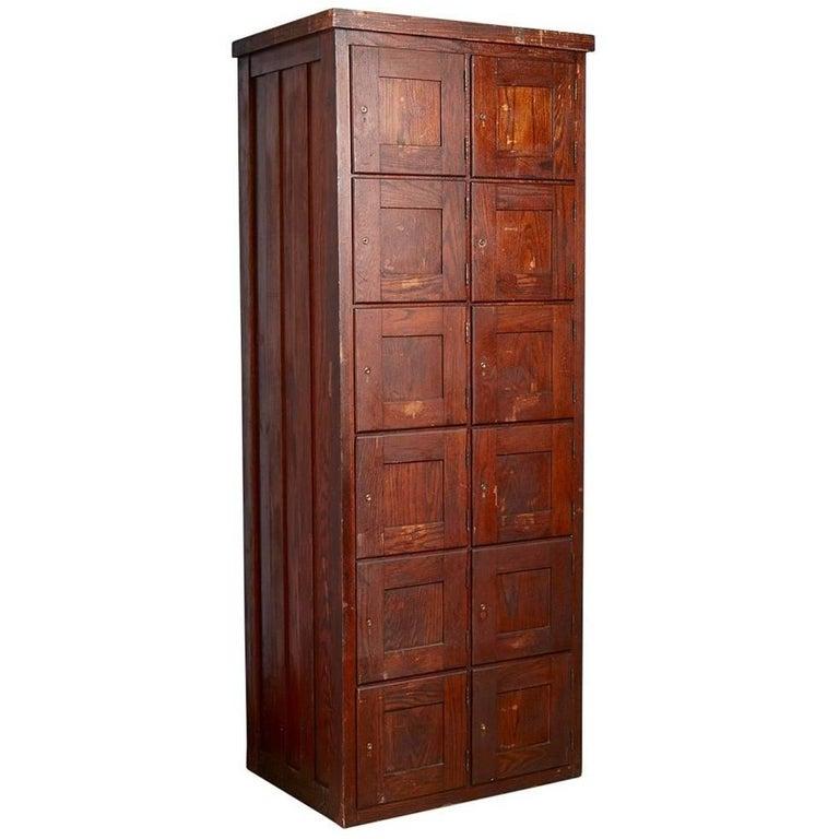 oak 12-unit locker cabinet by sheldon, circa 1920s for sale at 1stdibs
