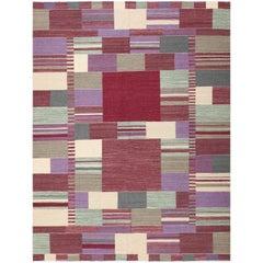Swedish Inspired Scandinavian Modern Kilim Carpet