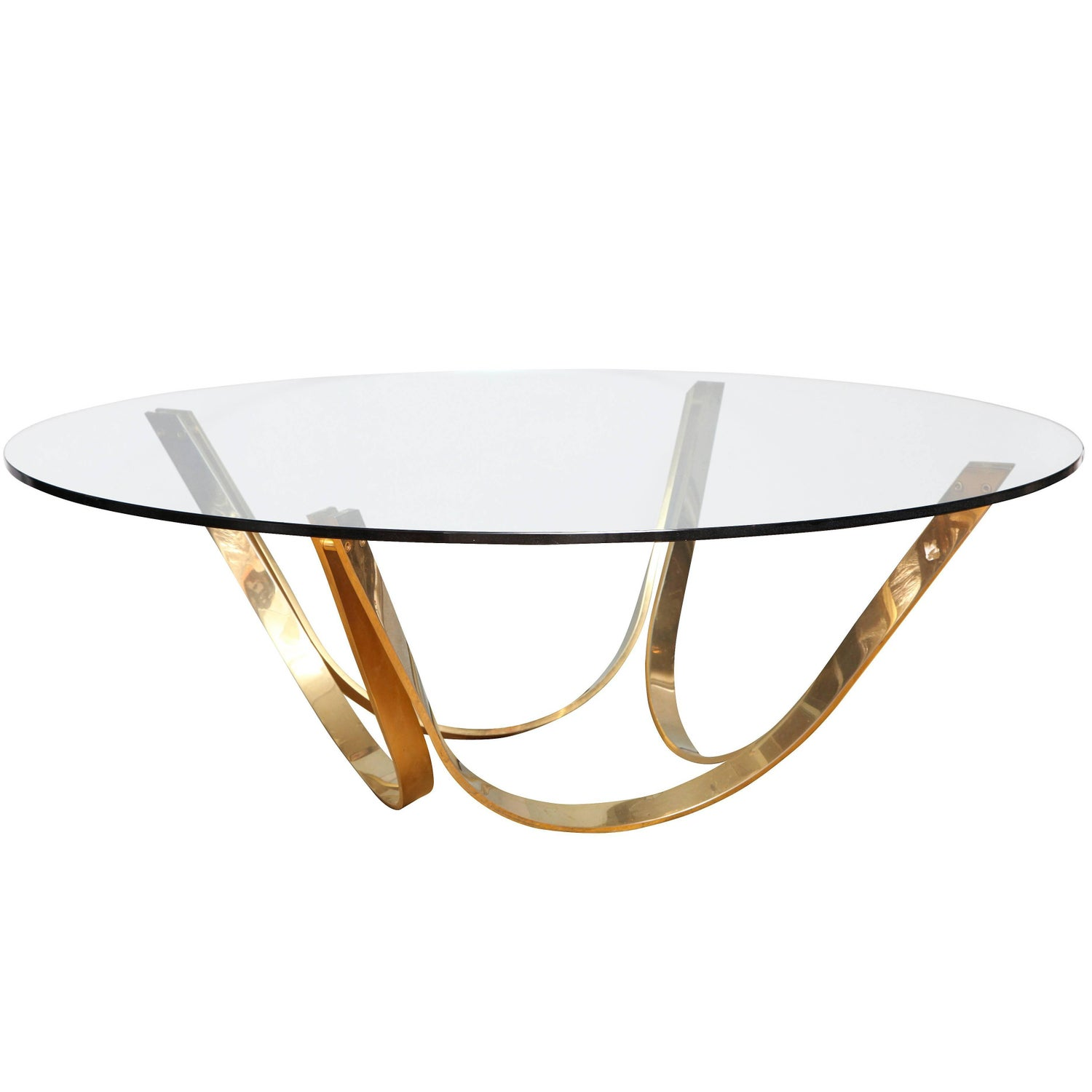 round glass coffee table by tri mark designs for sale at 1stdibs