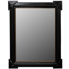 Large Size Ebonized Wood Dutch Mirror with Notched Frame, circa 1900