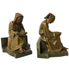 Antique Pair of Monk Reading/Scholar Bookends in Bronze Finish
