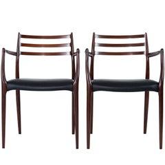 Pair of Niels Moller Rosewood Armchairs Model #62
