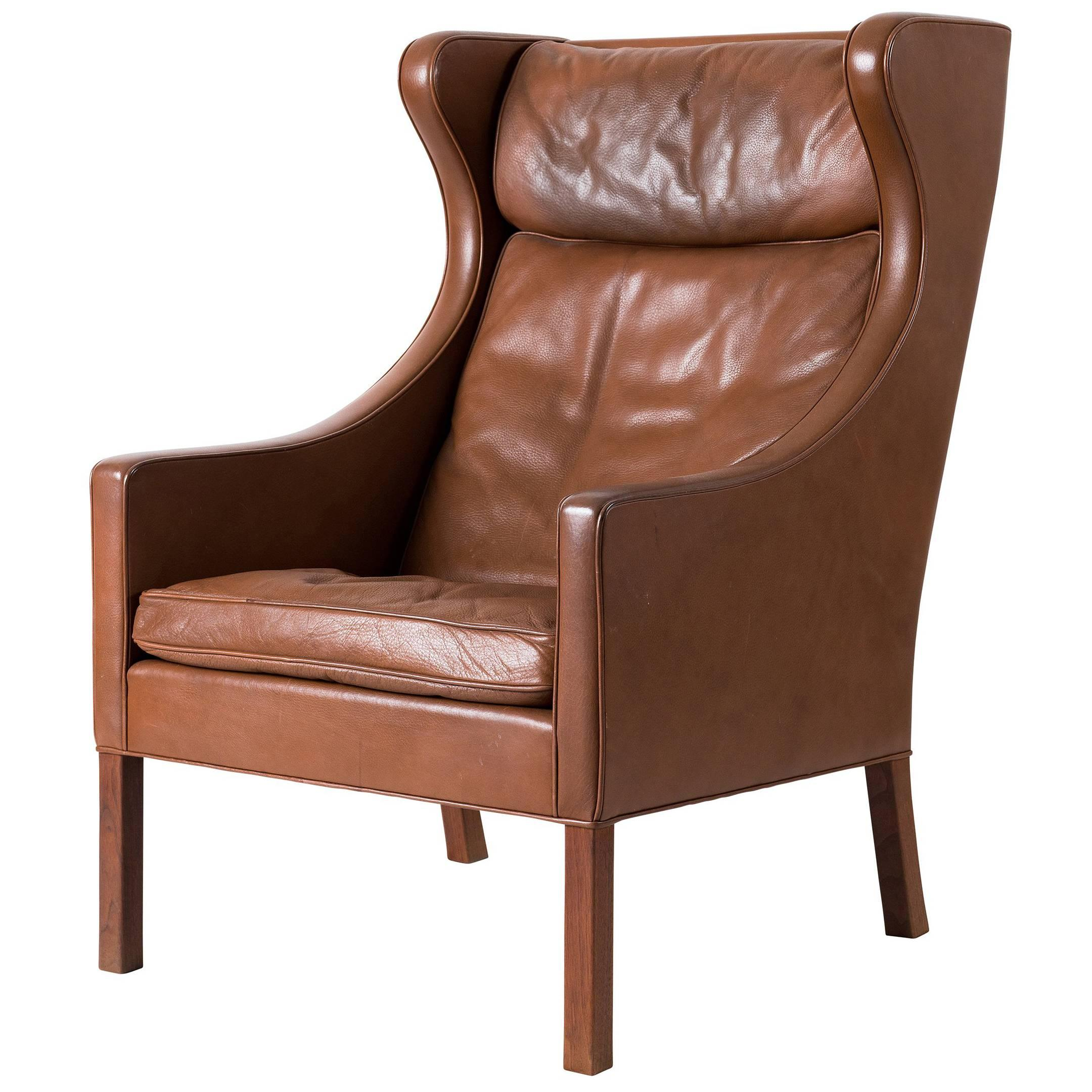 Lovely Børge Mogensen Leather Wingback Chair 1