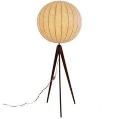Danish Modern Cocoon Floor Lamp on Tripod Teak Base